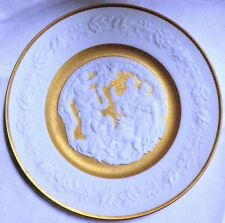 """New Price! Franklin Porcelain Bisque & Gold Christmas Plate """"Deck the Halls"""""""