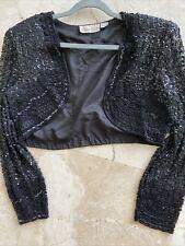 laurence kazar beaded short open front bolero jacket,Pl,silk,lined,grea t conditi