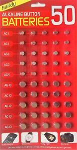 50 ASSORTED BUTTON CELL WATCH BATTERY BATTERIES AG 1 / 3 / 4 / 10 / 12 / 13 UK