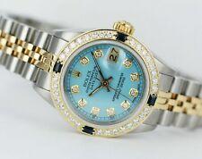 Rolex Two-Tone 26mm Lady Datejust 69173 Ice Blue Diamond Dial Bezel Sapphires