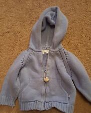the children's place boys 6-9 months boys blue sweater zip up front hood basebal