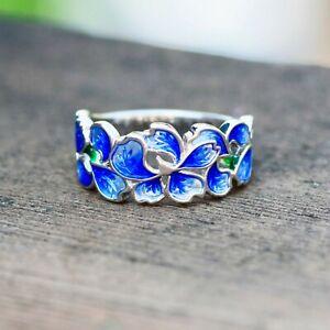 Blue enamel 925 ring South Western  deep blue silver ring Vintage decorative ladies silver ring