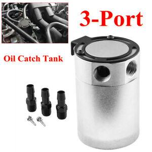 Car Oil Catch Tank 3-Port Reservoir Air-Oil Separator Baffled Billet Aluminum