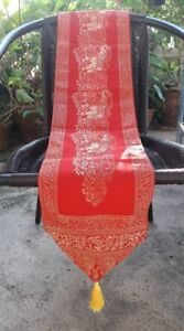 """TABLE RUNNERS ELEPHANT RED-GOLD DECORATIVE HOME TABLE WALL HOLIDAY 74""""x 8"""""""