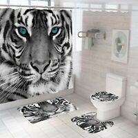 Tiger Shower Curtain Set Thick Bathroom Rugs Bath Mat Non-Slip Toilet Lid Cover