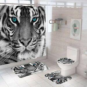 Tiger Shower Curtain Set Thick Bathroom Rugs Bath Mat Non-Slip Toilet Lid Cover