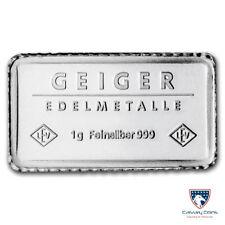Lot of 5 - 1 gram Silver Bar - Geiger Edelmetalle
