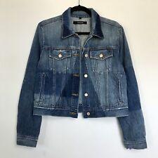 Sz Large J BRAND Harlow Blue Shadow Cropped Denim Jacket $258 PPM