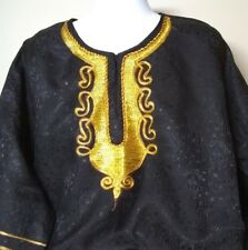 African print Embroidered front Black gold long caftan tunic shirt one Size fits
