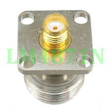 1pce Adapter N female jack to SMA female 18.5mm flange panel mount connector F/F
