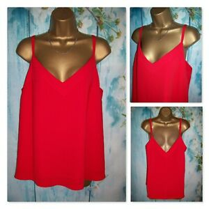 NEW LADIES GEORGE TOP SIZE 16, Red strappy camisole Vest Cami Top