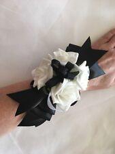 1x White Rose & Black Ribbon Wedding/ Graduation Bridal Flower Wrist Corsage