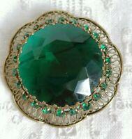 Vintage 50s 60s Emerald Green Glass Filigree Statement Brooch