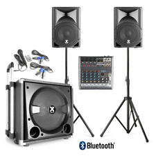 Active Powered PA Speaker System and Subwoofer with 6-ch Mixer Band Stage DJ