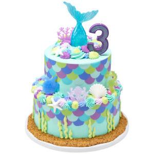 Mermaid Cake Decorations Birthday Ocean Sea Party Supplies Cupcake Teens Turtle