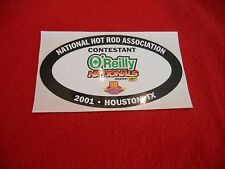 NHRA drag racing 2001 O'Reilly's Nationals Houston TX contestant decal Pennzoil