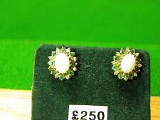 9ct Gold Opal Emerald And Diamonds Earrings New