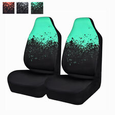 Universal 2 Front Car Seat Covers Mint Black Auto Protective For Van Truck Sedan