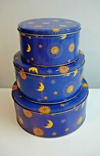 Set of 3 Nesting Holiday Tins for Cookie/Candy/Nuts Gift Giving Navy w/Moon/Star