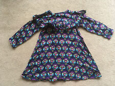 NEXT Girls Navy Blue Magenta Teal Floral Long Sleeved Dress 2-3 Years