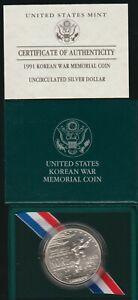 1991 Korean War Memorial BU Silver Dollar, OGP & COA