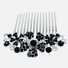 Flower Hair Comb Hairpin use Swarovski Crystal Bridal Wedding Black Gray 5-30