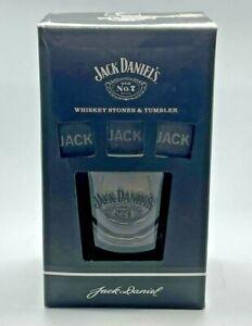 JACK DANIELS ROCKS GLASS & 3 X 'JACK' WHISKEY STONES GIFT SET - PUB BAR WHISKY