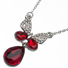7.42 Ct Pear Cut Style Shape Red Garnet / Ruby CZ 18K White Gold Plated Pendant