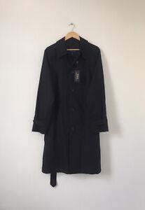 NEW Polo Ralph Lauren Stretch Cotton Balmacaan Coat Navy Blue Size UK40R Large