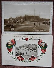 2x Blackpool Vintage Postcard PC To One I Love Art Deco + Gynn Square 1926