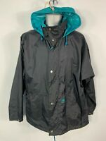 MENS HELLY HANSEN SIZE MEDIUM BLACK HOODED ULTRA LIGHT WEIGHT RAIN COAT JACKET