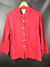 BLAIR 3/4 Slv Top Button Down Shirt Red Linen Blend Blouse LG PT Petite Large PL