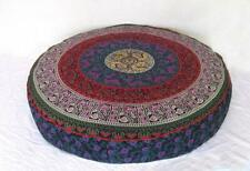 Ethnic Round Floor Cushion Cover 35 Inches Mandala Design Cotton Fabric Indian