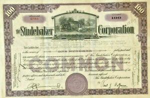 Studebaker stock certificate issued to founder John Mohler Studebaker's Trust