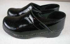 SANITA DANISH CLOGS Professional Black Patent Leather Shoes 38 / 7