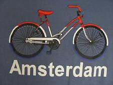 Amsterdam Shirt L Blue Cotton Short Sleeves Bicycle Souvenir of