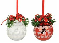 Print Ball Red/Clear With Berries Set of 4 Xmas Christmas Tree Decoration
