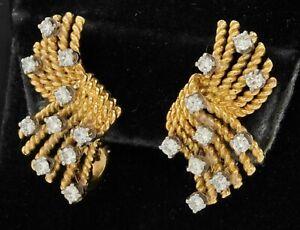 Tiffany & Co. Schlumberger 18K YG 2.0CT VS1/F diamond clip-on earrings