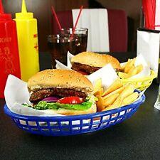 6 x Classic Oval Food Basket Blue 24x15x5cm American Diner Basket Plastic Basket