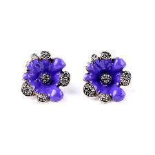 NEW * Urban Anthropologie Muna Rhinestone Flower Purple Enamel Earrings
