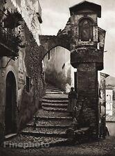1925 Original ITALY Photo Gravure SUBIACO Woman Child Chicken Stair By HIELSCHER