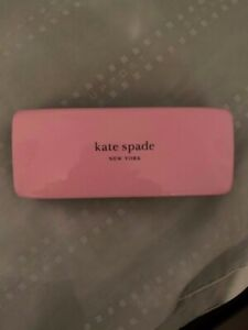 Kate Spade Pink & Dark Green Sunglasses Eyeglasses Hard Case w/ Cleaning Cloth