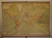 alte Schulwandkarte Weltkarte Erde amazing world map from Germany 289x199cm~1925