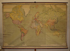alte Schulwandkarte Weltkarte Erde amazing world map from Germany 289x199cm~1925