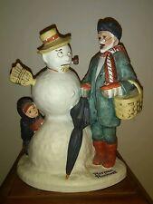 "NORMAN ROCKWELL PORCELAIN FIGURINE ""GRANDPA SNOWMAN"" DANBURY MINT 1980"