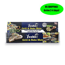 Yoshi Grill Bake Nonstick BBQ Mats 2 Pack Easy Grilling Baking As Seen on Tv