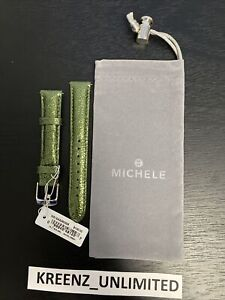 New $100 Michele Safari Green Leather Watch Band Strap 16mm MADE IN USA