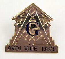 Freemasons Masonic Square & Compass Gold AVDI VIDE TACE Pin Hear, See, Be Silent