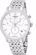 NWT Men's Tissot T-Classic Tradition Chronograph T0636171103700 Silver SS Watch