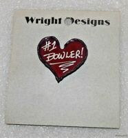 Vintage Metal Art #1 Bowler Pin / Brooch Handcrafted Jewelry David Wright Design